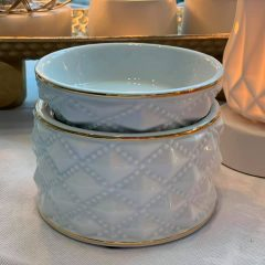 Diamond Milk Glass Warmer